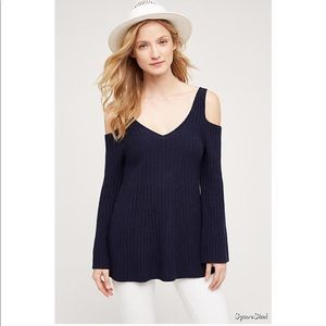 Anthropologie Knitted & Knotted Cold Shoulder Knit